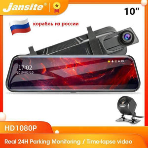 Jansite 10 inches Touch Screen 1080P Car DVR stream media Dash camera Dual Lens Video Recorder Rearview mirror 1080p Rear camera Jansite Official Store