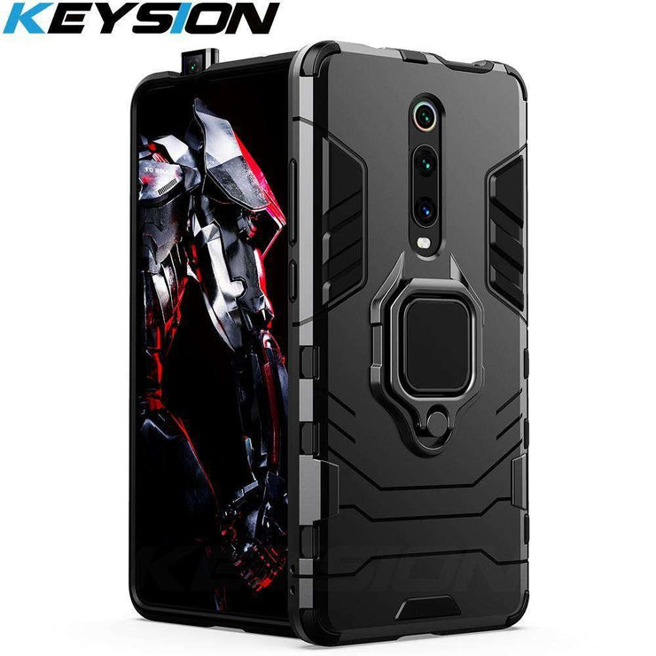 KEYSION Shockproof Armor Case For Redmi K20 K20 Pro Note 7 7a 6 8 Pro Stand Holder Car Ring Phone Cover for Xiaomi Mi 9T Pro Mi9 se CC9e Mi 8 lite A2 A3 KEYSION Online Official Store