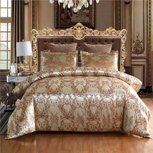 Luxury Jacquard Luxury Bedding Set Floral Printed Duvet Cover Sets Single Double Queen King Size BedClothes Modern Bed Linens Dream-Karin Textile Store Brown EU Single (2pcs)