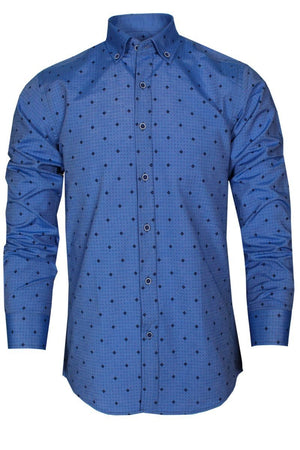 Men Fashion Casual Long Sleeved Printed shirt Slim Fit Male Varetta Official Store Blue S