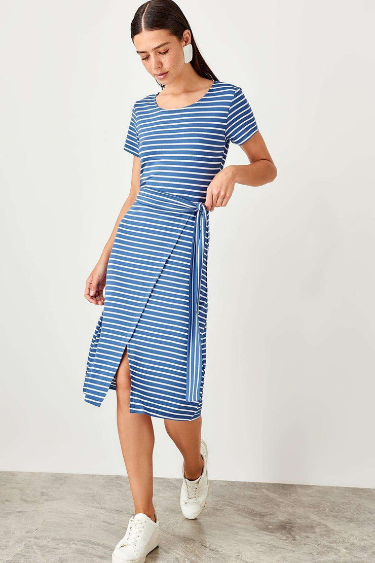 Navy Striped Knitted Dress Trendyol Women's Store