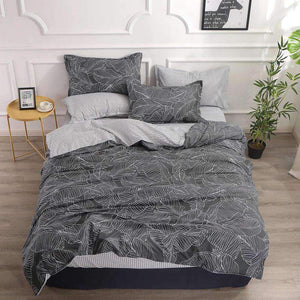 Nordic Bedding Set Leaf Printed Bed Linen Plaid Duvet Cover Set Single Double Queen King Quilt Covers Modern Sheet Bedclothes sisher Official Store Grey Single 3pcs 150x200