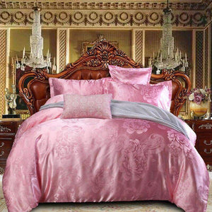 Sisher Luxury Bedding Set Queen Size Floral Jacquard Duvet Cover Sets Single King Wedding Bed Linen Flat Sheet Quilt Covers Sisher Store Pink Flat Bed Sheet Single 3pcs 150x200
