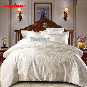 Sisher Luxury Bedding Set Queen Size Floral Jacquard Duvet Cover Sets Single King Wedding Bed Linen Flat Sheet Quilt Covers Sisher Store