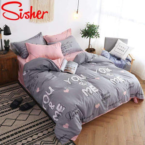 Sisher Nordic Bedding Sets Queen Size Plant Leaf Floral Plaid Stripe Duvet Cover Single Double King Set Quilt Cover Bed Sheet sisher Official Store you-me Single 3pcs 150X200