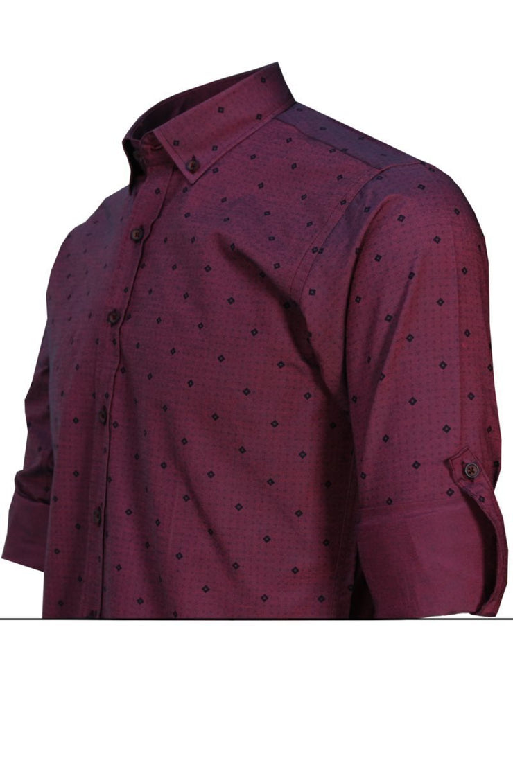 Slim Fit men's shirt Polka dot shirts for men Printed shirt men claret red Shirt Clothing Long-Sleeved Casual men shirt Varetta Varetta Official Store
