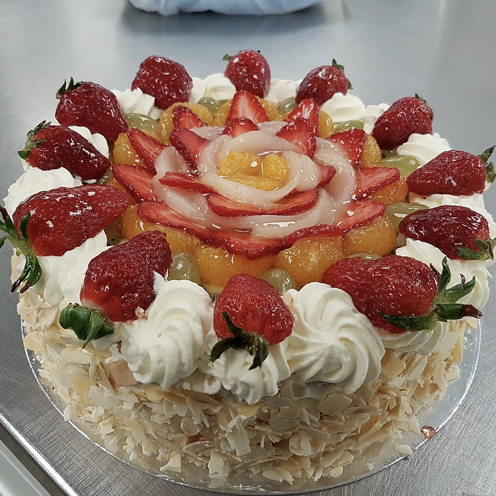 "Fresh Fruit Cream Sponge - 8"" - Cake"