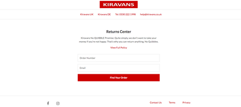 Kiravans Self Service Returns Centre for campervan conversion parts