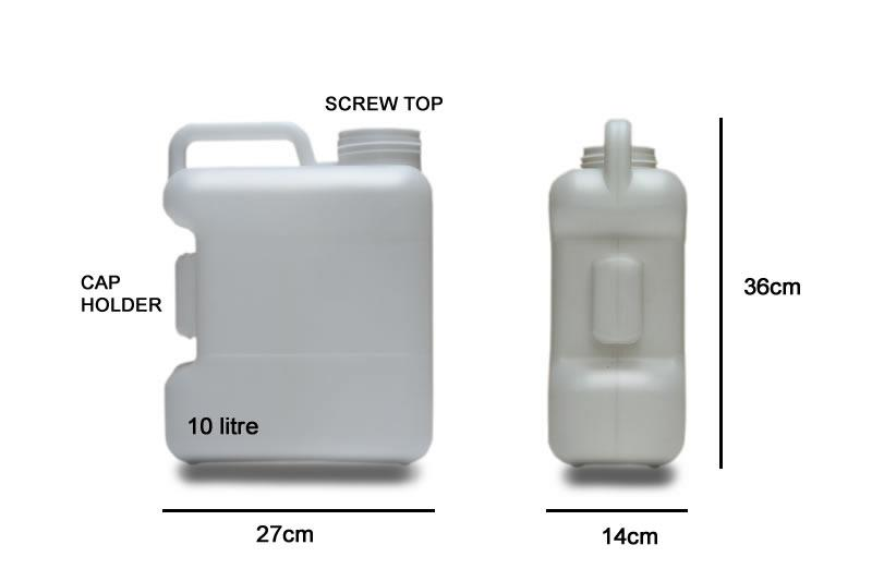 10 Litre plastic Water Container - Fixed Handle (Screw Top) with dimensions