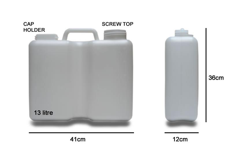 13 Litre Water Container - Fixed Handle (Screw Top & Strap)