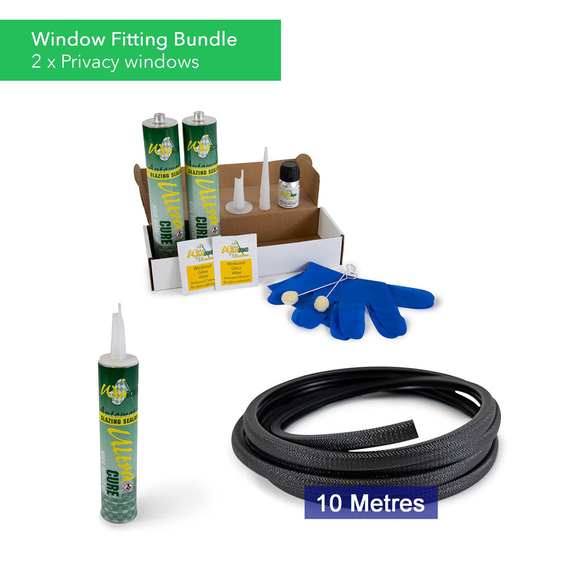 Ultra Cure Campervan Window Adhesive & U-Profile Edge Trim Bundle Kiravans Window Adhesive & U-Profile Bundle - 2 x Windows