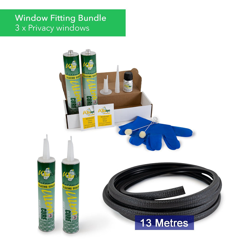 Ultra Cure Campervan Window Adhesive & U-Profile Edge Trim Bundle Kiravans Window Adhesive & U-Profile Bundle - 3 x Windows