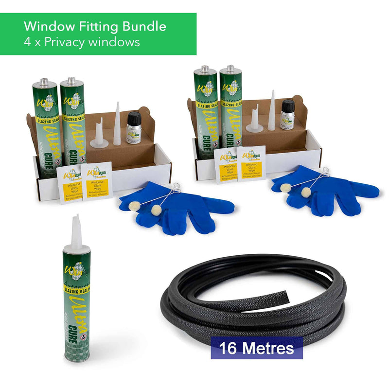 Ultra Cure Campervan Window Adhesive & U-Profile Edge Trim Bundle Kiravans Window Adhesive & U-Profile Bundle - 4 x Windows