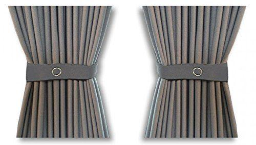 Curtain Set - 140cm Straight Rails & 70cm Curtain Height (Grey)