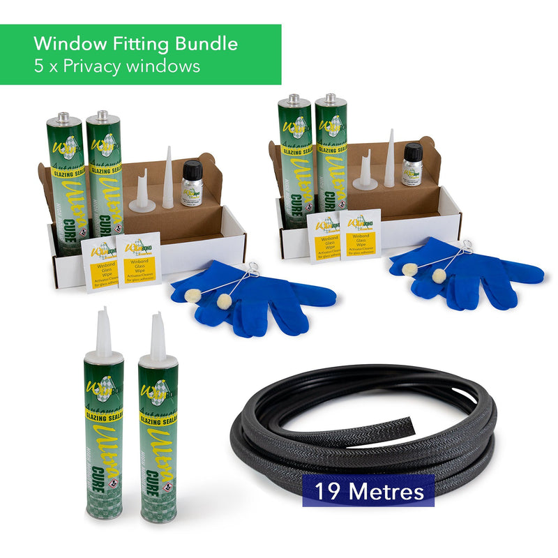 Ultra Cure Campervan Window Adhesive & U-Profile Edge Trim Bundle Kiravans Window Adhesive & U-Profile Bundle - 5 x Windows