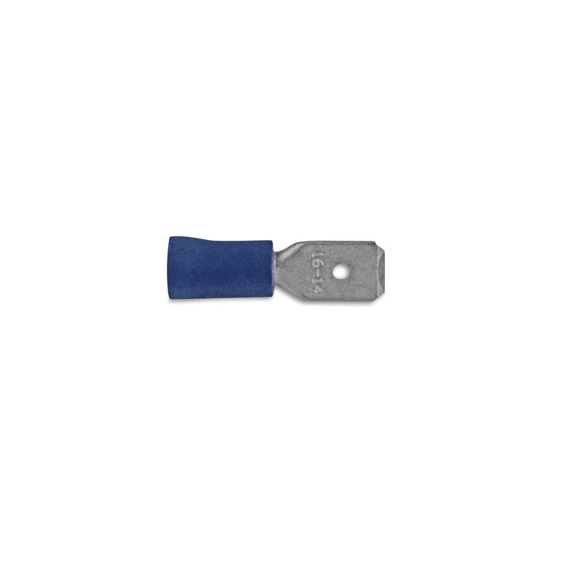 Blue Spade Connnector Male Insulated - 1.5 - 2.5mm2 Conductor Size (Pack of 50) Durite
