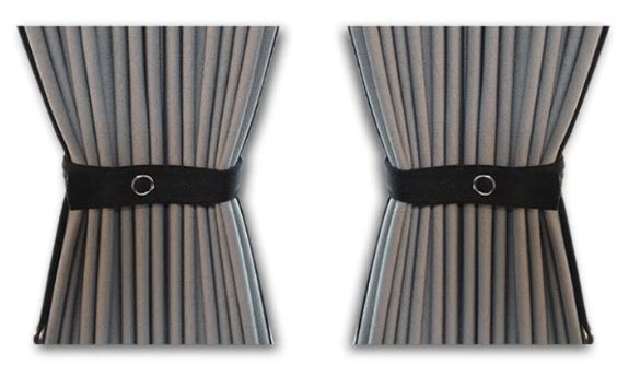 Curtain Set - 140cm Straight Rails & 70cm Curtain Height (Blackout)