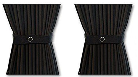 Curtain Set - 140cm Straight Rails & 52cm Curtain Height (Black)