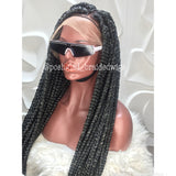 KEMI JUMBO BOX BRAID WITH COLOR 1 HIGHLIGHT OF WHITE. (FULL LACE)
