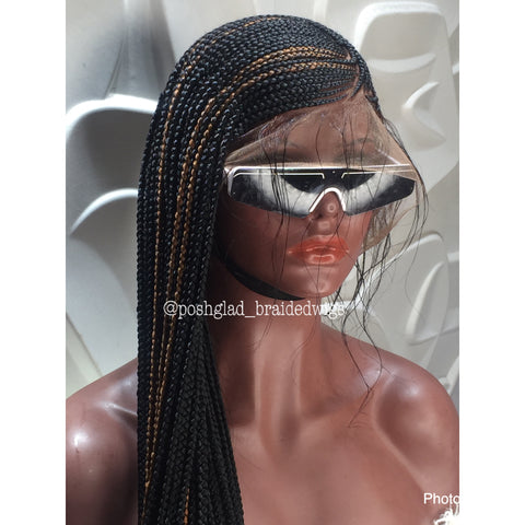 abiona lemonade cornrow full lace wig front view