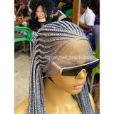 LULU CORNROW (GRAY ROOT) MADE WITH HD LACE COST $150