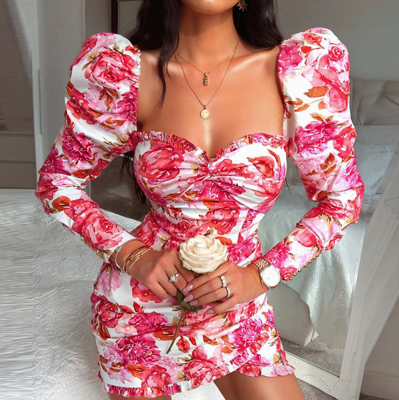Floral Ruffled Dress - The Bella Luna Shop