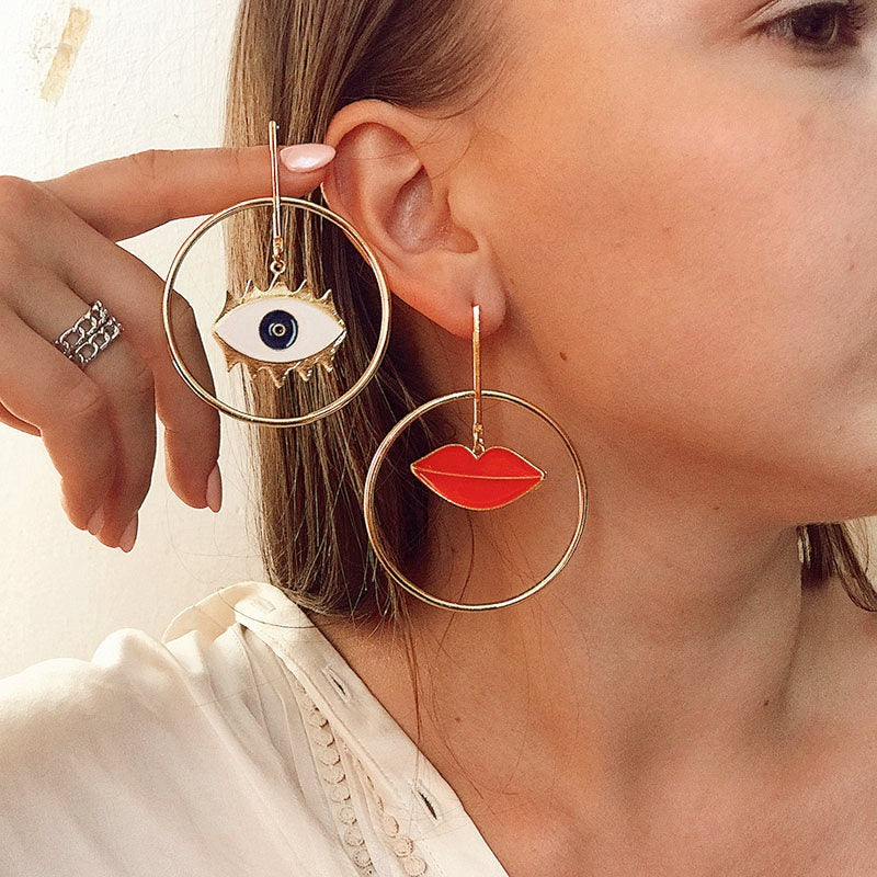 Diana Eyes Mouth Personality Earrings