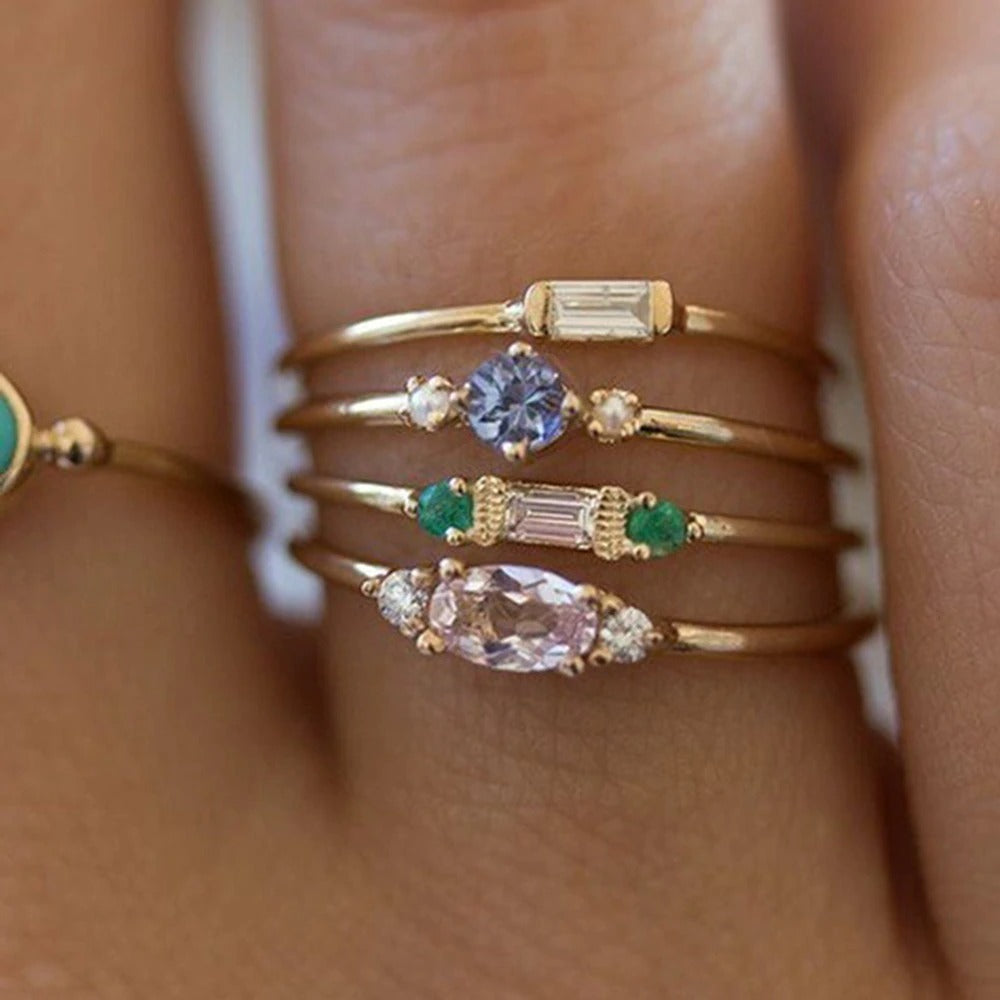 Zircon Gold Ring Set