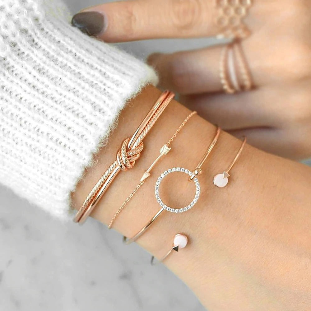 Gold Crystal Circle Arrow Bracelet