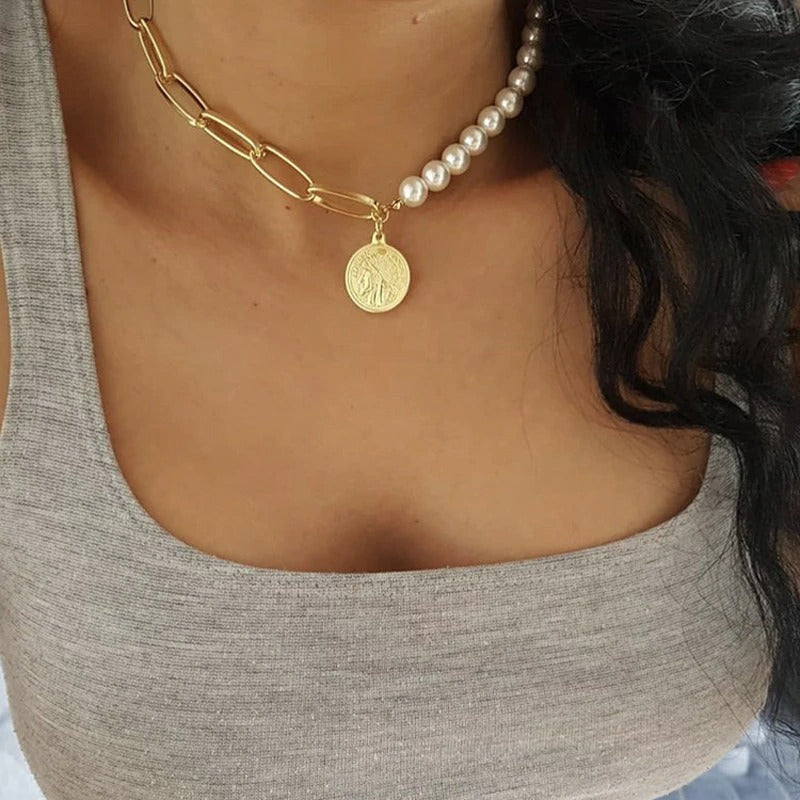 Coin Choker Short Necklace