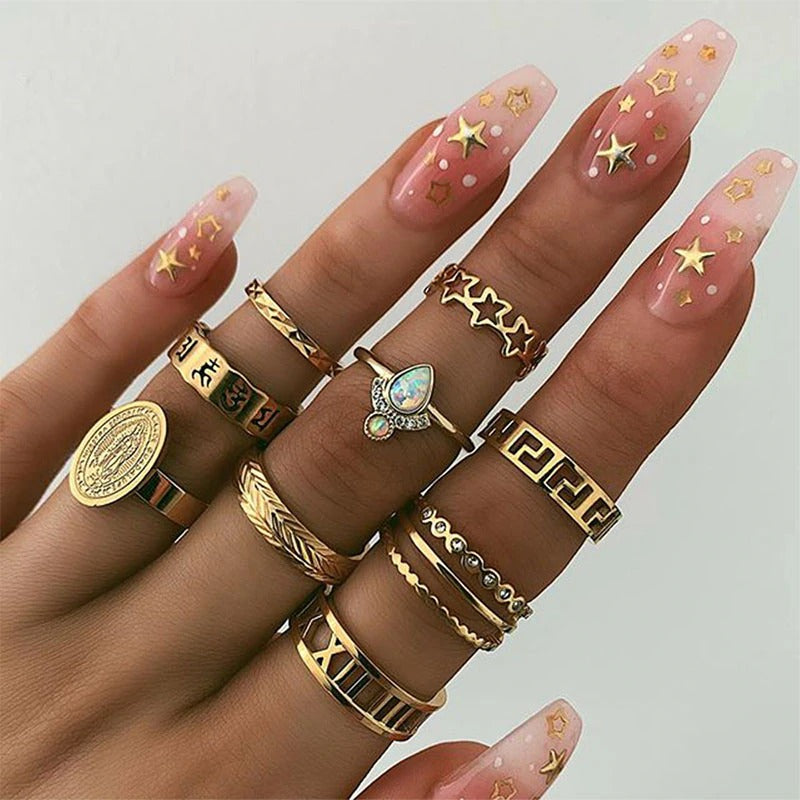 Camille  Metal Finger Ring Set