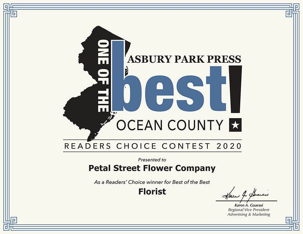Petal Street Flower Company Florist in Point Pleasant, NJ voted as a Reader's Choice winner of 2020 for Best of the Best Florist