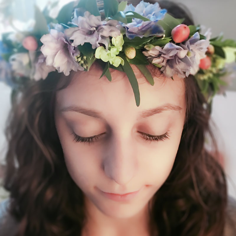 Garden inspired flower crown with Delphinium, Berries, and accent greens.