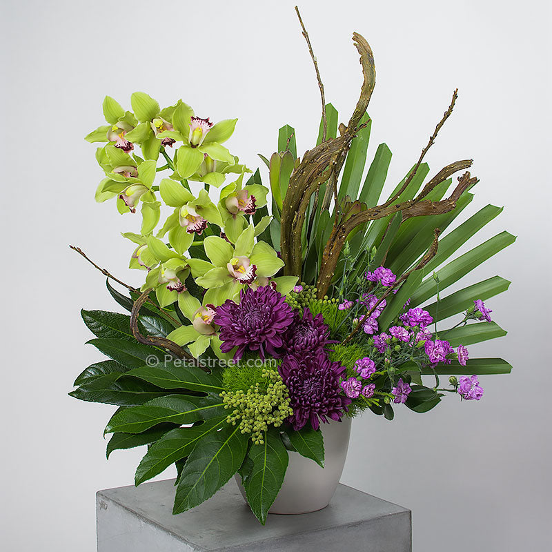 A large and eye catching arrangement with a branch of lime green Cymbidium Orchids, plum Mums, Curly Willow accents, and a mix of large tropical leaves.