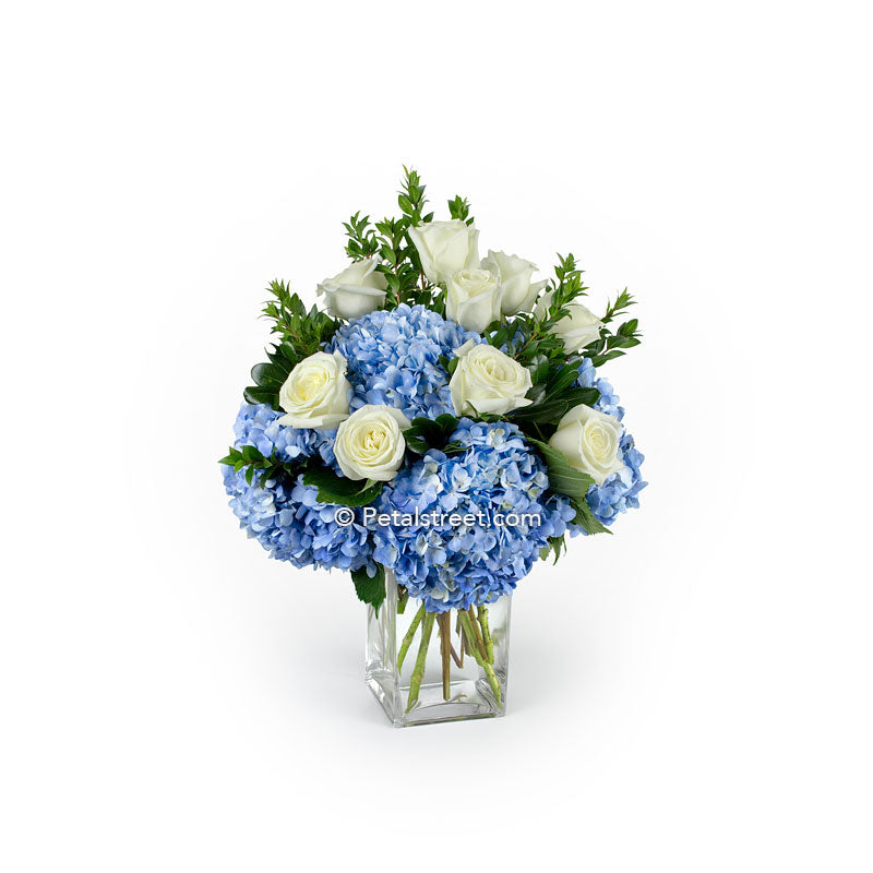 Blue Hydrangea and white Roses elegantly arranged in a vase by Petal Street Flower Company, a Pt. Pleasant, NJ Florist.