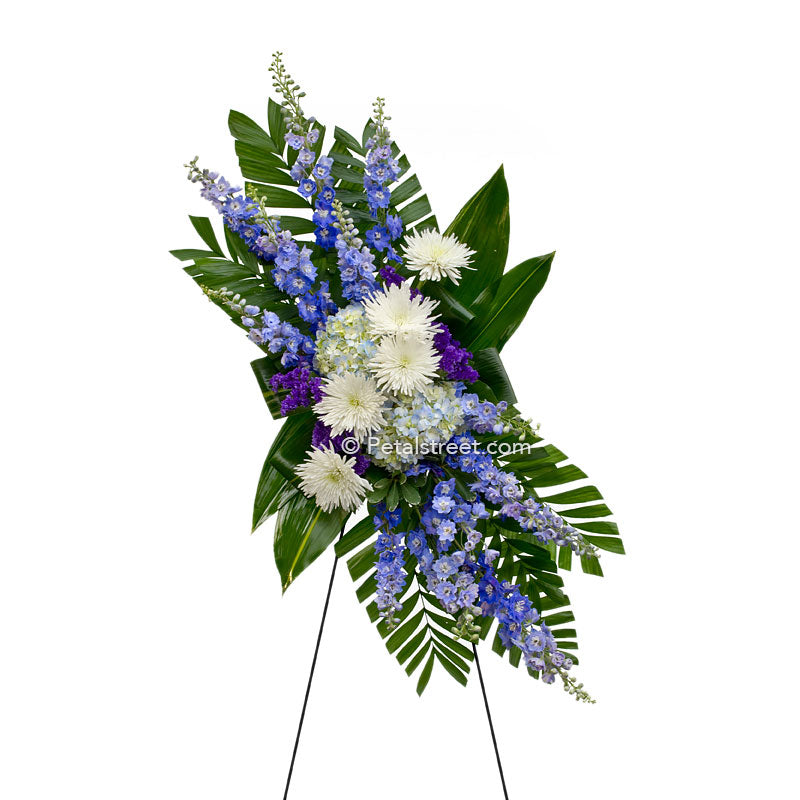 White blue and purple funeral spray with Spider Mums, Hydrangea, Delphinium, and accent foliage.
