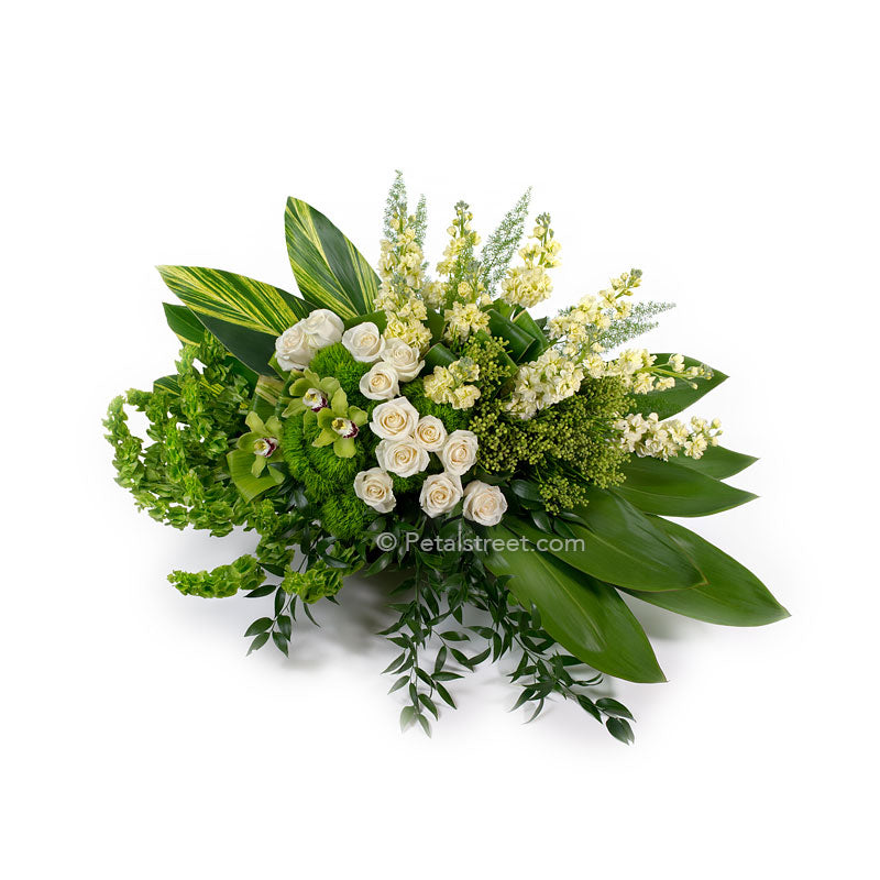 Modern style green and white casket spray, white Roses, Snapdragons, Bells of Ireland, and large lush foliage accents.