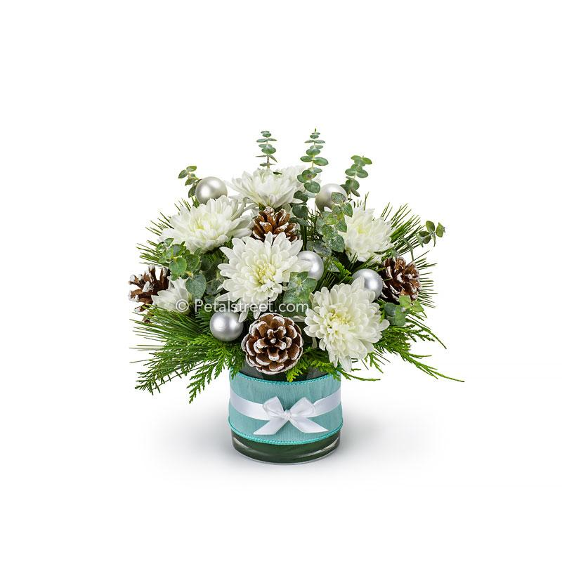 White Silver And Blue Christmas Flower Arrangement Petal Street Flower Company