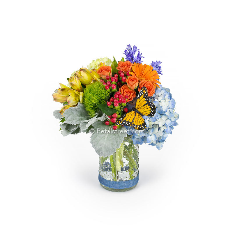 Colorful Hobnail Vase Of Flowers Local Florist In Pt Pleasant Nj Petal Street Flower Company