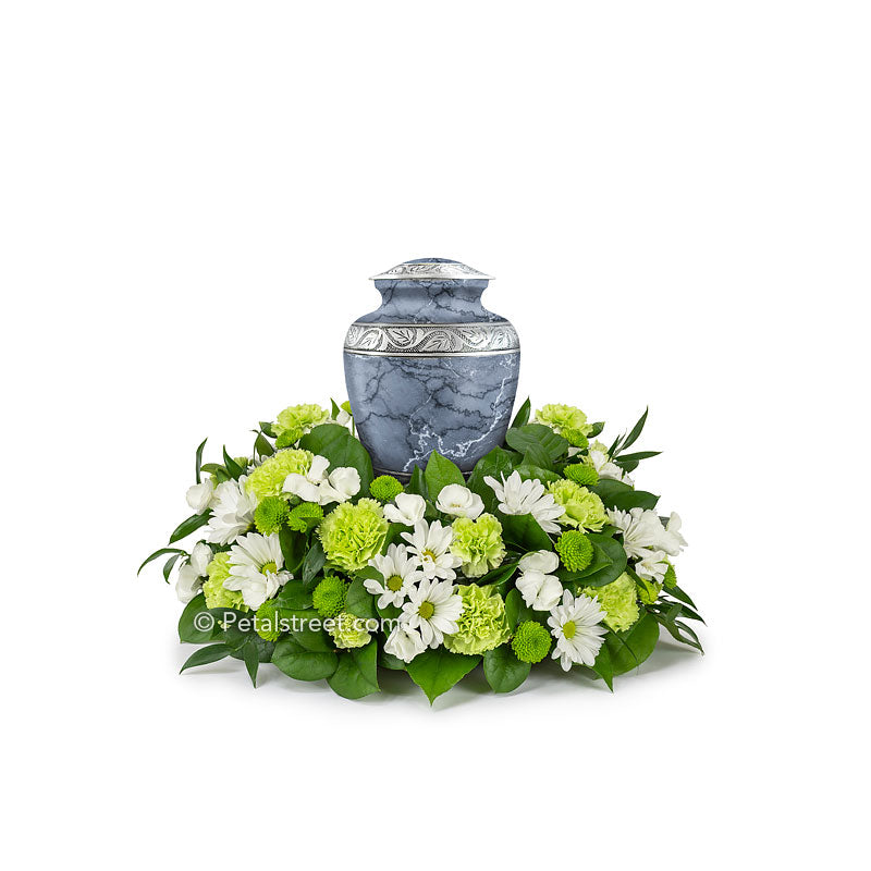Cremation flower arrangement with Daisies, Carnations, Dianthus, Button Mums, and accent foliage.