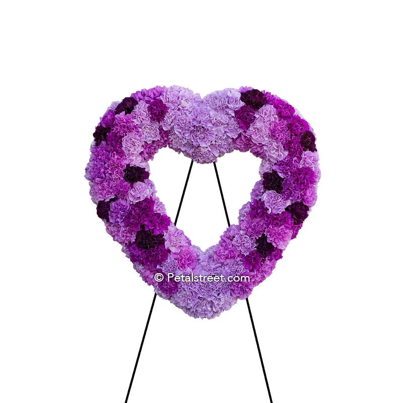 All purple Carnation heart form with light, medium, and dark colored Carnations.