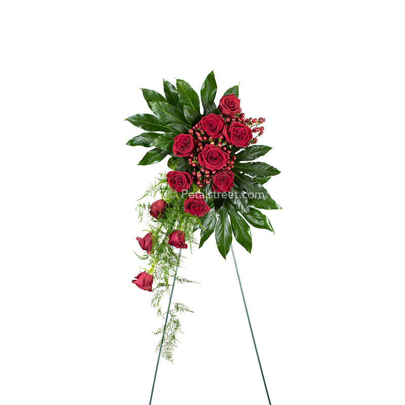 Funeral standing spray of red Roses arranged cascading style with lush green Aralia Leaves and accent foliage.