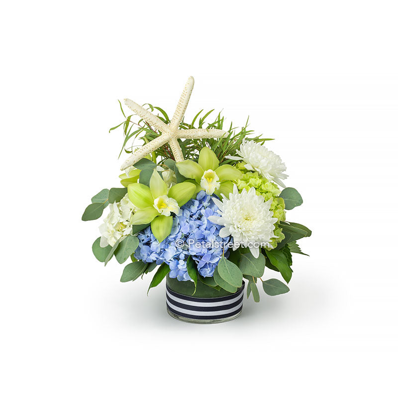 Coastal theme flower arrangement in a low cylinder vase with green orchids, white mums, blue green and white hydrangea, eucalyptus, and a large starfish accent