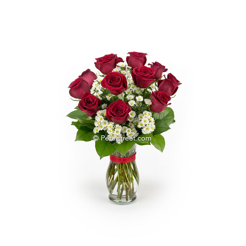 One dozen red Roses for delivery in a vase by Pt. Pleasant florist Petal Street Flower Company.