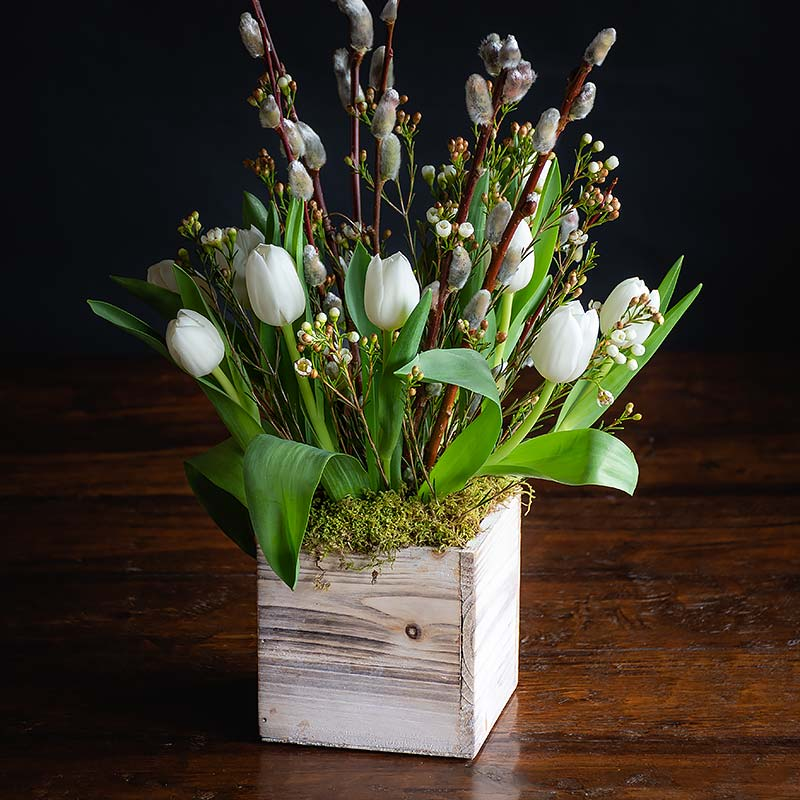 Buy this Tulips and Pussy Willow Rustic Box Arrangement