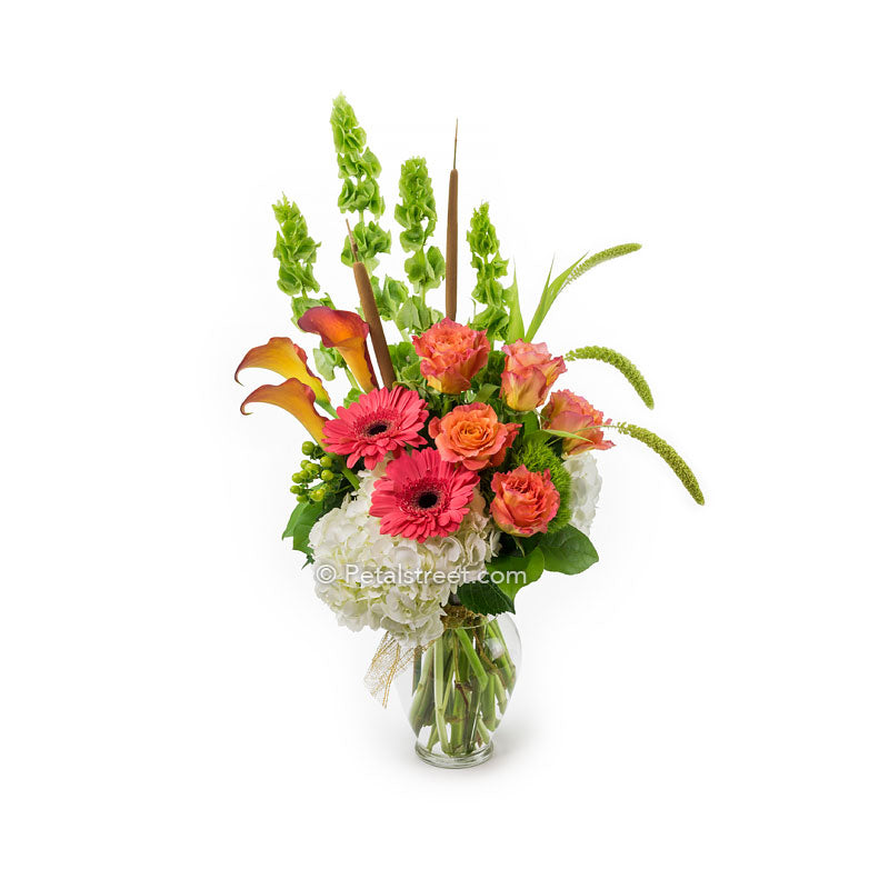 Vase flower arrangement with orange Roses, orange Calla Lilies, coral Gerbera Daisies, Hydrangea, and assorted flowers.
