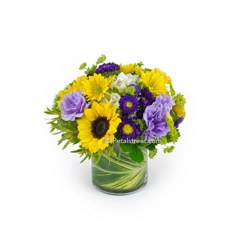 Purple and yellow flower arrangement with Sunflowers, Daisies, and Aster by the Florist in Pt. Pleasant Petal Street Flower Company.