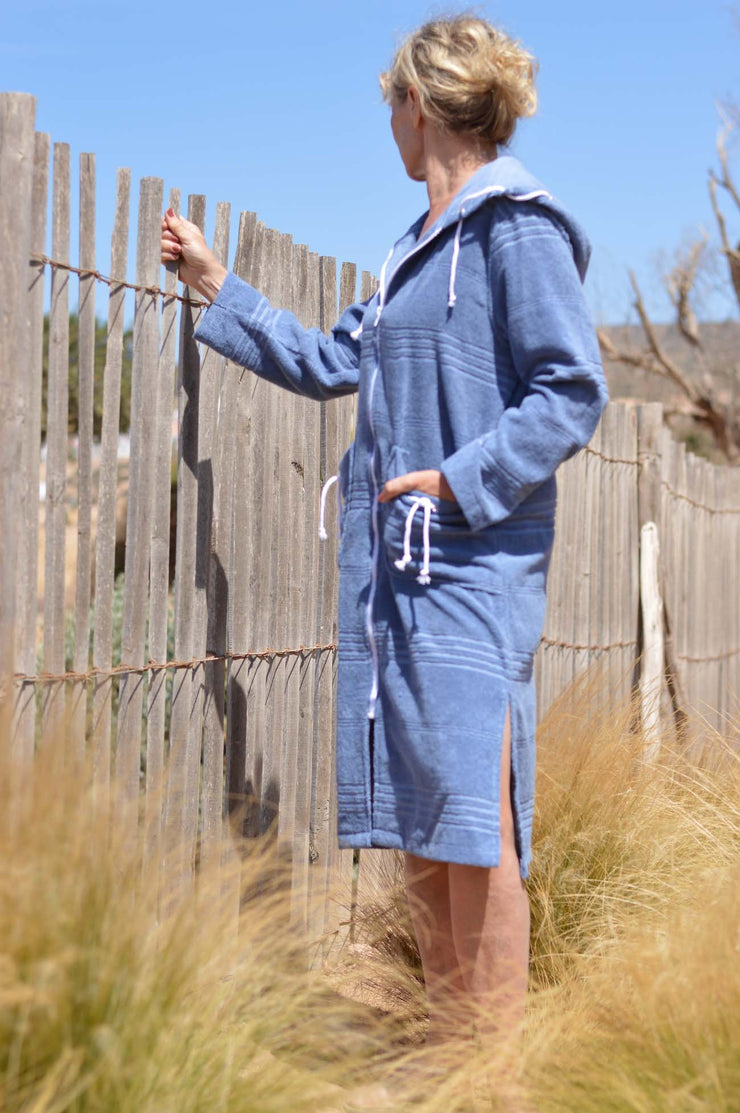 Lightweight bathrobe  with zipper - 100% cotton