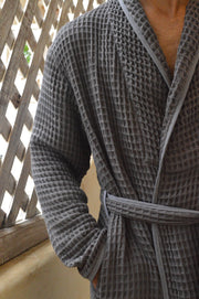 Lightweight bathrobe for tall men -100% cotton honeycomb