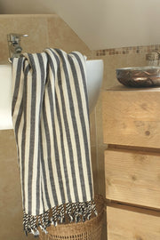 Hammam towel PAM - 100 x 180 cm - BASIC STRIPES IN BLACK